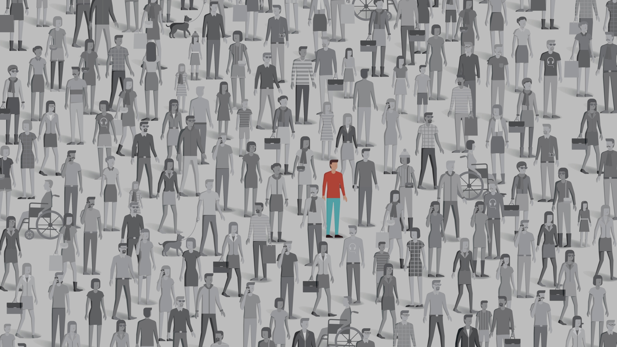 Image of individual standing out in a crowd.