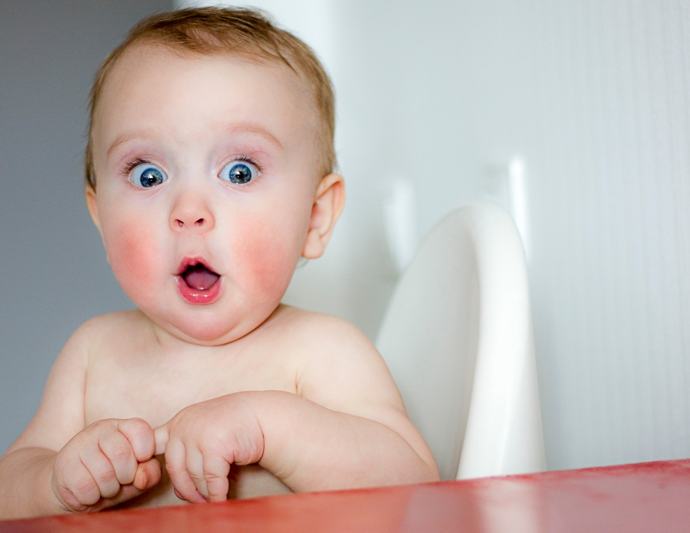 Picture of surprised baby.